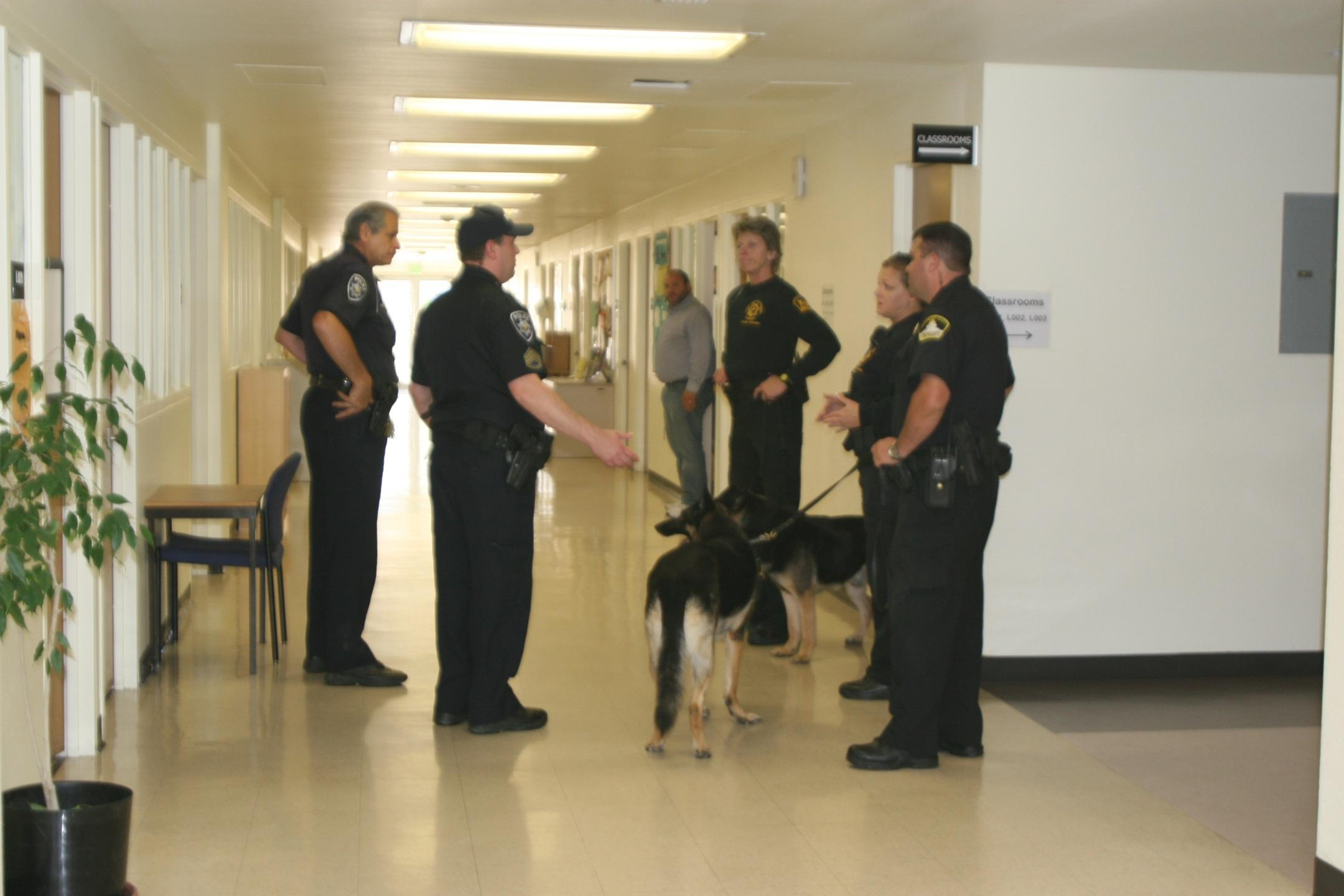 Members of Sacramento County Sheriff and campus police check bomb threat Oct. 6, 2011. (Photo by Corina Snyder)