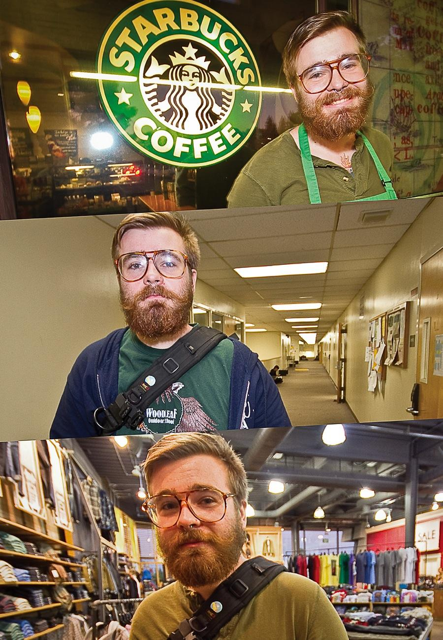 JT Kelley works at Starbucks and Urban Outfitters while attending American River College. (Photos by Andrew Vasquez)