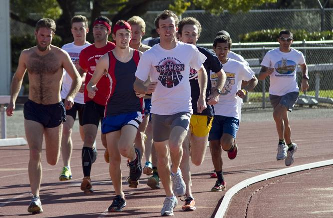 The American River College track and field team running at practice on Feb. 15. (Photo by Bryce Fraser)