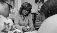 Dana Fraire, an American River College student, teaches tarot to students in her Carmichael office.