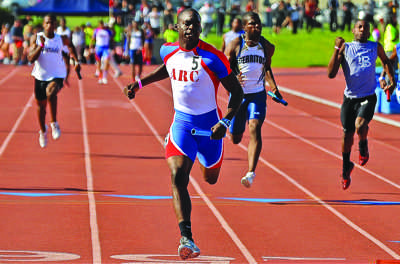 ARC speedster Diondre Batson anchors the 4 x 100 meter relay team for the Beavers on March 3. (Photo courtesy of Dean Lophgren)