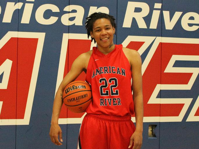 Eunique Hopkins, freshman guard for American River who's been playing basketball since she was nine, now leads the state of California in steals per game with 5.5. (Photo by Stephanie Lee)