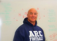 (Sacramento) Head football coach Jerry Haflich in his office where planning is going on for the 2013 beavers season.