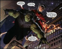 Hulkling (left) and Wiccan (top-right) of Young Avengers, a gay teen couple of Marvel comics