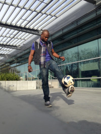 Bila Kintaudi, 22, juggles with a soccer ball on campus. Kintaudi plays his favorite sport during winter break.
