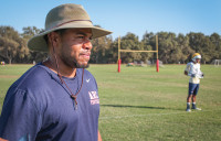 American River College football defensive back coach Chris Marshall used to play as a wide receiver and defensive back for ARC in 2001 and 2002.