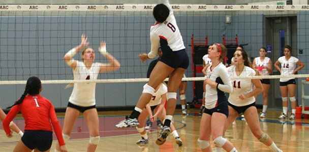 Erianna Williams jumps to spike the volleyball during a home match against Santa Rosa Junior College on Oct. 15