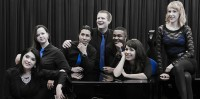 (From left to right) ARC students  Diana Campos, Chelsea Farnworth, Erick Guerrero, Stephen Greenwood, Julian Cunningham, Megan Ugarte and Lahre Shiflet. ARC's vocal jazz ensemble pose at a photo shoot preparing for their performance at the American Choral Director's Association Feb. 25th-28th conference.