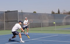 Men's doubles wins a split 2-3 match against Foothill College, loses 5-4 in singles