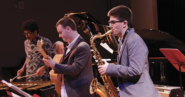 Playing on saxaphone Lucas Bere (right) is a member of the Brubeck Institute Jazz Quintet he is playing alongside guitarist Shawn Britt during the March 10th show.