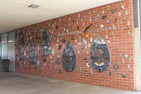 """Rain Dance"" will have a mural dedication on April 22, which is Earth Day. These ceramic murals were made from ARC's ceramics department and hanged over spring break."