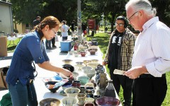 Students from the ceramics department sell their art