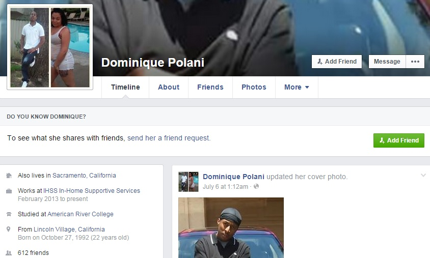 Dominique Polani, who was arrested Friday as a suspect in a string of Sacramento bank robberies, attends American River College according to her Facebook page.