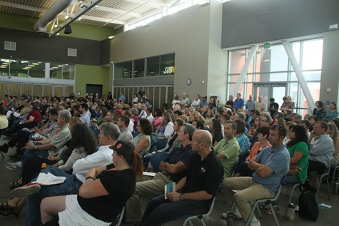 The crowd of ARC employees, which included faculty, administration and classified employees, filled the cafeteria in the student center for the Fall 2015 Convocation Friday.