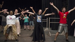 """The cast of """"The Music Man"""" rehearses for its upcoming performance at American River College. The play will open on Oct. 9. (Photo by Karen Reay)"""