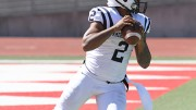 American River College quarterback Jihad Vercher drops back to pass from his own endzone during ARC's 20-17 win over City College of San Francisco on Sept. 26, 2015. Vercher threw for 280 yards, one touchdown and was 5-8 for 33 yards on the game winning drive. (Photo by Barbara Harvey)