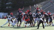 City College of San Francisco's special teams players attempt to block American River College's game-winning 25-yard field goal during ARC's 20-17 win over CCSF on Sept. 26, 2015. The game-ending field goal win was a reversal of the 2014 NorCal Championship game, which ARC lost 17-14 when CCSF scored a field goal during the last minute of the game. (Photo by Barbara Harvey)
