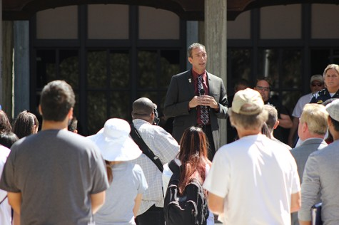 "Los Rios Chancellor Brian King addresses a crowd of Sacramento City College students, faculty and staff the day after a fatal shooting on the campus that left 25-year-old student Roman Gonzalez dead and two others injured. King called the shooting a ""nightmare."" (Photo by Barbara Harvey)"