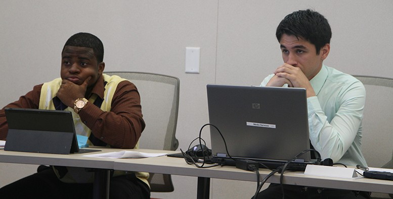 ASB Student Senate Vice President Samuel Kinsey, left, and President Garrett Kegel listen to updates from the Student Senate of California Community Colleges (SSCCC) at their first ASB meeting this year. Kegel and Kinsey said they were looking forward to the coming semester. (Photo by Matthew Wilke)