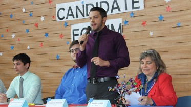 "Cameron Weaver speaks at the candidate forums during the student elections of the spring 2015 semester. Weaver, who was elected as Los Rios student trustee, recently cast doubt on the historical account of the Holocaust and said that being a conspiracy theorist is ""a title I wear proudly."" (File photo)"