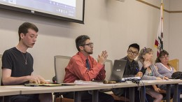 The Associated Student Body Student Senate deliberates on a proposed recall of Los Rios Trustee Cameron Weaver at Thursday's meeting. After the resignations of Garrett Kegel and Sam Kinsey, Justin Nicholson, far left, is the only member of the board actually elected by the students. (Photo by Karen Reay)