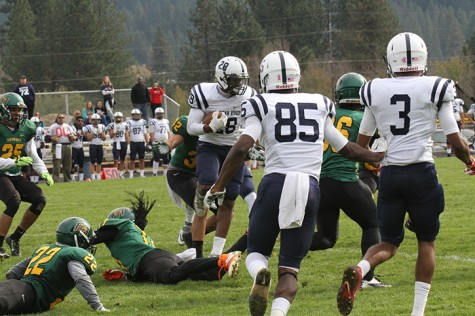 Armand Shyne, running back for American River College attempts a spin move against Feather River on Oct. 24, 2015. ARC was victorious 44-14, Shyne led the team with 108 yards on 10 carries with a touchdown. (Photo by Nicholas Corey)