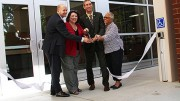 (Left to right) President Thomas Greene, Los Rios trustee Deborah Ortiz, Chancellor Brian King, Los Rios trustee Pamela Haynes cut the ribbon offically opening the new Student Services building. The new wing of the Student Services adds 5,500-square feet to the building. The west side underwent a 14-month remodel from April 2014 to summer 2015. (Photo by: Ashley Nanfria)