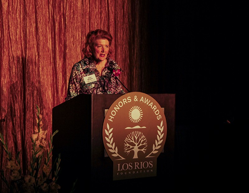 Carol Spurgeon, a donor to the Los Rios Foundation honored by Sacramento City College, speaks to attendees of the Los Rios Foundation Honors and Awards Gala on Friday. The gala commemorated the 50th anniversary of the founding of the Los Rios Community College District. (Photo by John Ferrannini)