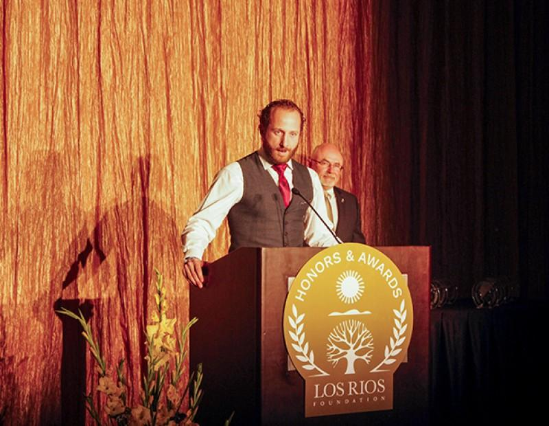 Former Oakland Athletics player and American River College alumnus Dallas Braden speaks to attendees of the Los Rios Foundation Honors and Awards Gala. Braden pitched a perfect game for the Athletics in 2010. (Photo by John Ferrannini)