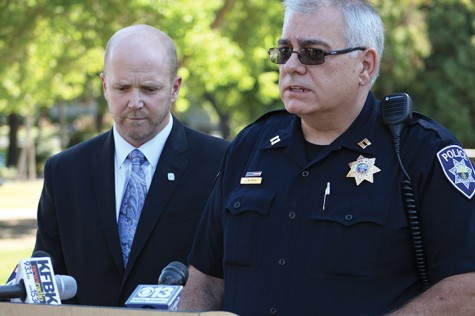 American River College President Thomas Greene, left, and Los Rios Police Department Capt. John McPeek address members of the media following the arrest Thursday of Kristofer Wayne Clark, 21, for allegedly threatening to carry out an attack on the ARC main campus. McPeek said the threat was deemed credible and that weapons were found inside Clark's home. (Photo by Barbara Harvey)
