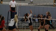 American River College safety Monica Udahl performs a backward set in order to get the ball to a teammate. ARC swept Cosumnes 3-0 by scores of  25-14, 25-11, 25-22 on October 21, 2015 .(Photo by Nicholas Corey)