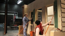 "American River College students Alice Morgan, left, and Kori Einsel build the sets for the upcoming theater production of ""Music Man."" That production will open on Oct. 9. (Photo by Ashlynn Johnson)"