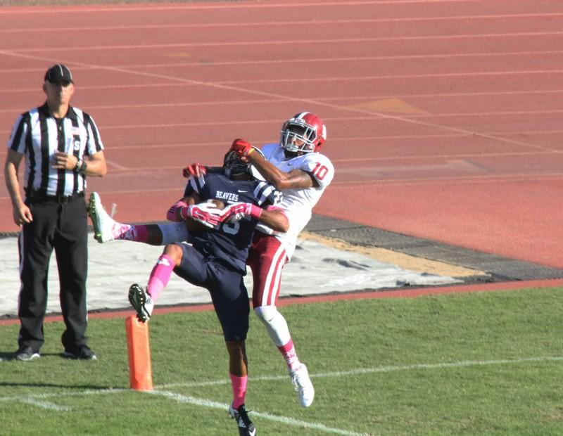 Defensive Back Josh Huston from American River College intercepts a pass meant for Devin Gray during their game against Sierra College on Oct. 31 at ARC. The Beavers won the game forty-seven to twenty-two. (Photo by Joe Padilla)