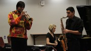 From left to right, Noah Flores, Lahre Shiflet and Daniel Bravo are a part of the group 547. The ensemble performed in a concert at the  Jazz Combos Showcase American River College on Nov. 6.  (Photo by Michael Pacheco)