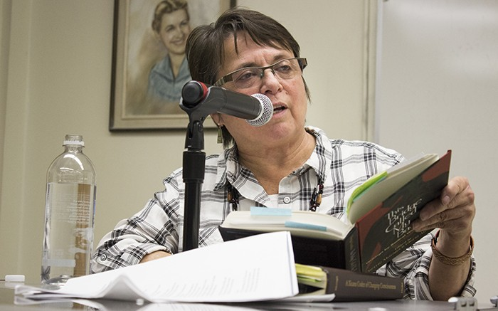 Cherrie Moraga reads from her book, 'This Bridge Called My Back: Writings by Radical Women of Color' during the Creative Connections event. The book highlighted the experiences of women who belong to minority groups and called for greater attention to race-related subjects within the feminist community. (Photo by Karen Reay)