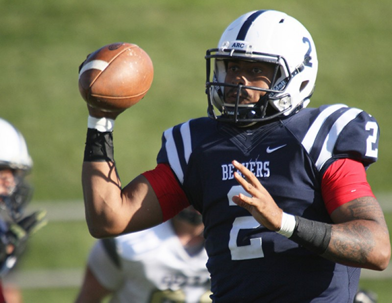 American River College quarterback Jihad Vercher searches for a receiver during the Gridiron Classic Bowl game against San Joaquin Delta College on Saturday, Nov. 21, 2015. Vercher committed to Tiffin University. (Photo by Barbara Harvey)