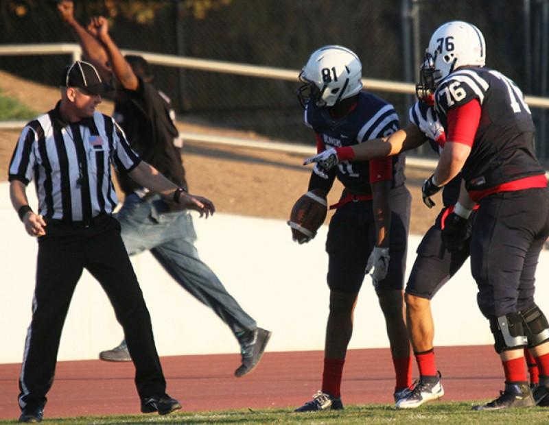 American River College wide receiver Malik Dumetz disputes the referee's call that he was out-of-bounds during the final play of the Gridiron Classic Bowl against San Joaquin Delta College on Saturday. ARC lost 24-17 in overtime. (Photo by Barbara Harvey)