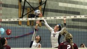 Erin Fogarty and Monica Udahl of American River College attempt to block a ball from Sierra College on Nov. 13, 2015. ARC lost to Sierra by a score of 25-23, 25-21, 25-18, 25-20. (Photo by Nicholas Corey)