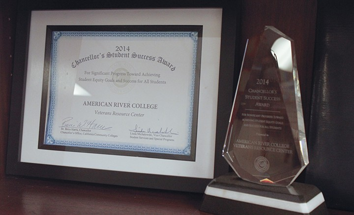 The 2014 Chancellor's Student Success Award is displayed in the American River College Veterans Resource Center, which serves one of the largest communities of community college student veterans in the state (Photo by John Ferrannini).