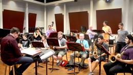 Professor Dyne Eifertsen teaches the Latin jazz ensemble at ARC. The ensemble is performing with the studio jazz ensemble on Thursday night. (Photo by Matthew Wilke)