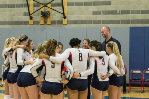 ARC's volleyball team huddles up during a timeout in game two of its win over Lassen College. ARC won the game 25-12 en route to a 3-0 victory in the match. (Photo by Joe Padilla)