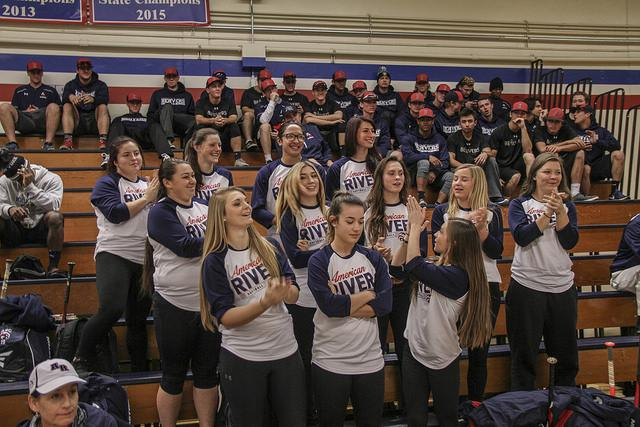 American River College's women's softball team is recognized for the team's various achievements, during the ARC athletics season preview on Friday. (Photo by Tyler Jackson)