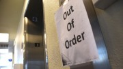 An 'out of order' sign outside of third floor of the ARC school library warns students and staff of the broken elevator. The repairs were completed on Monday. (Photo by Tracy Mapes)