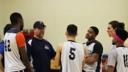 American River College's men's basketball head coach Mark Giorgi talked to some of his players, during practice Thursday. The team will play its sixth conference game of the season against Sierra College Friday.  Photo by Matthew Nobert