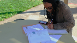 ARC student Destiny Perkins studies for her classes at the beginning of the semester. Many students have found new places to study away from the overcrowded Student Center and library.  (Photo by Justina Sharp)