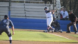 American River College catcher Matt Elliot hits the ball in last seasons game against West Valley College at American River College on Jan.29, 2016. ARC will start the new season against West Valley College on Thursday. (File Photo)