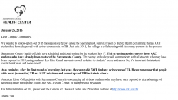 An email sent to ARC students from the Health Center notifies all students that additional tuberculosis screenings are taking place the week of Feb. 1 for those who may have exposed to an active TB case on campus in Nov. 2015. The screenings are for potentially exposed students who were not tested on Dec. 1, 2015. (Screen capture of email from the ARC Health Center)