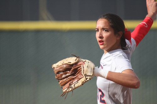 American River College's starting pitcher Sharie Albert winds up her pitch during ARC's 6-3 win over Lassen College at home on Feb. 25, 2016. (Photo by Jordan Schauberger)