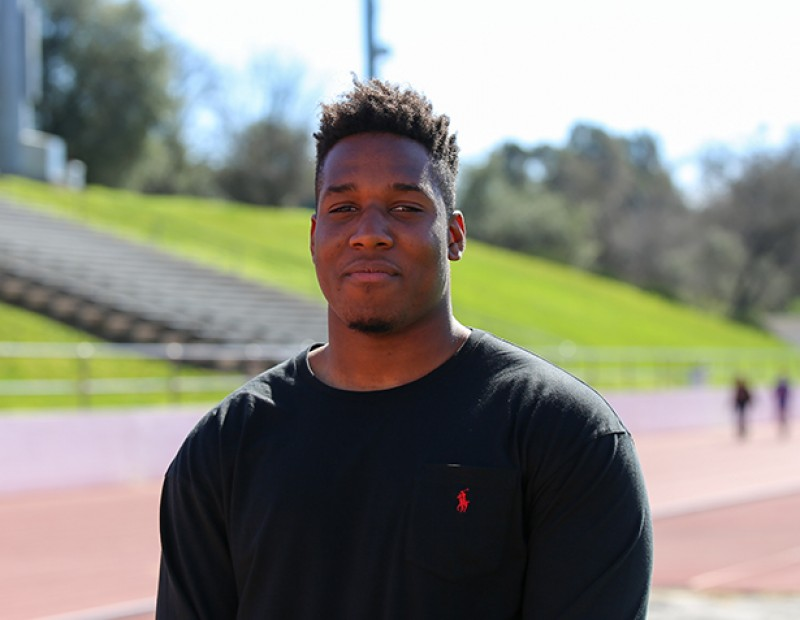American River College defensive lineman Chigozie Nnoruka committed to the University of California Los Angeles (UCLA). Nnoruka recorded 35 tackles and 3 sacks for ARC in 2015. (Photos by Kyle Elsasser)