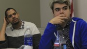 American River College CAEB Director of Finance James Cortright listens to the agenda with Jeremy Diefenbacher at the Student Senate meeting on March 1, 2016. (Photo by Robert Hansen)